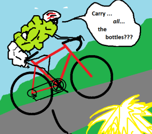 Terrible drawing of domestique hauling all the bottles.