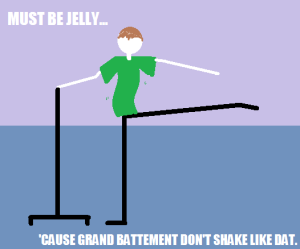 Must be jelly, because grand battement don't shake like dat.