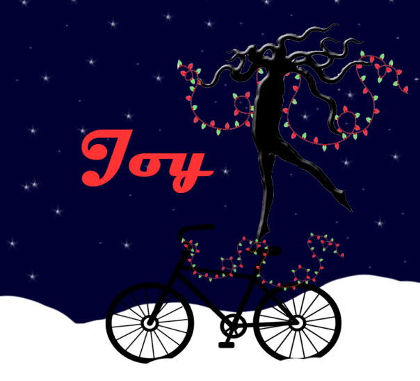 A squid doing 45 degree arabesque on a bicycle ... with lights.  Because Holidays!