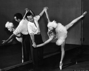 Racehorse legs, y'all.  23rd December 1939:  Vera Zorina, the stage name of Eva Hartwig, the ballet dancer and actress, rehearsing with her husband George Balanchine for the Warner Brothers musical production of 'On Your Toes'.  (Photo by Hulton Archive/Getty Images)