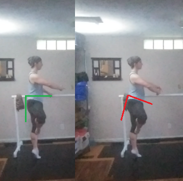 Two images of the same dancer during a balance placed side-by-side with lines indicating the angle of his pelvic tilt.