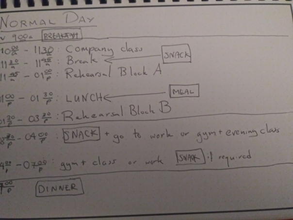 My typical daily schedule written out on dot-grid paper.